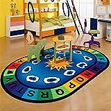 LISIBOOO Cartoon Anti-Skid Kids Area Rugs,ABC with Numbers,Oval Child Large Carpet,for Boys Girls Babies Playroom Bedroom Study Room Nursery Living Room Bathroom (3'3''x5'2'', Cloud-Sky)
