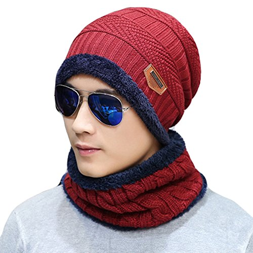 Naisidier Men's Winter Beanie Hat Scarf Set Warm Knitted Skull Cap with Scarf for Men and Women