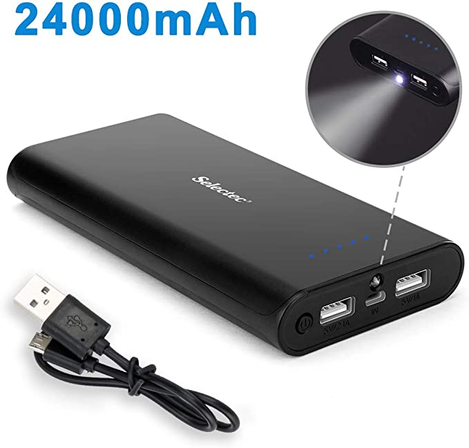 Power Bank 24000mAh Portable Phone Charger with 2 USB Ports High Speed External Battery Power Charger with PowerIQ Technology for iPhone 11XS, iPad,