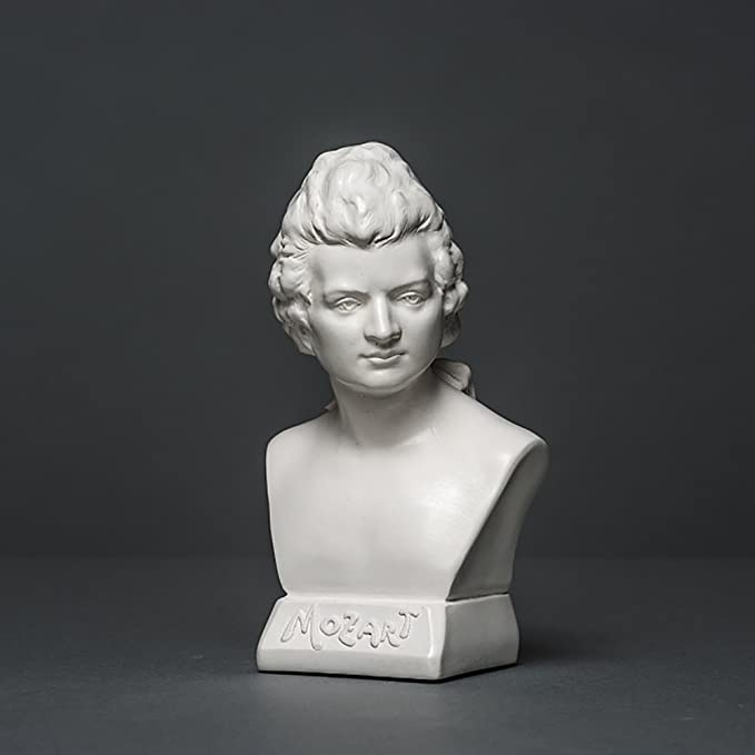 Wolfgang Amadeus Mozart Sculpture en Tente de Haute qualit/é fabriqu/ée /à la Main en Allemagne Blanc 12 cm