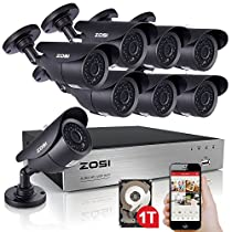 ZOSI 8-Channel HD 720P Video Security System DVR and (8) 1.0MP Weatherproof Cameras with IR Night Vision LEDs- 1TB HDD,120ft(40m) Night Vision, Motion Alert (Certified Refurbished)
