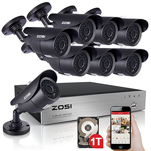 ZOSI 8-Channel 720P Video Security System DVR recorder with 8x HD 1280TVL Indoor/Outdoor Weatherproof CCTV Cameras 1TB Hard Drive ,100ft Night Vision ,Motion Alert, Smartphone& PC Easy Remote Access