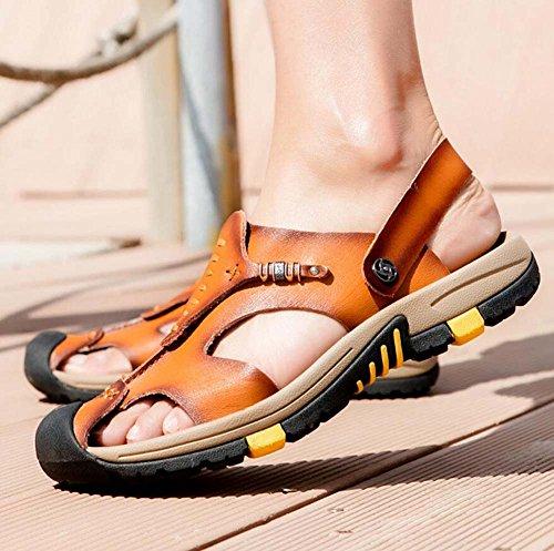sandali suola pelle taglie in Brown britannica traspiranti Light estate 45 Baotou scarpe uomo in pantofola con spessa pelle casual Sandali da traspirante 38 Ydxwan antiscivolo xOZAqw