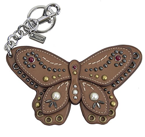 Coach Large Studded Leather Butterfly Bag Charm Key Chain...