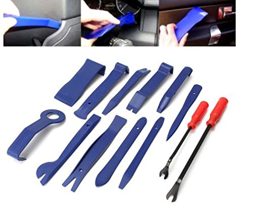 Wide Concave Rim (13Pcs Blue Auto Car Audio Door Dash Tirm Panel Install Removal Pry Tools Bag by ShopIdea)