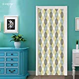 """№05210 Door Stickers Wall Murals Wallpaper [ Circle, Flower of Life Design Vintage Fifties Midcentury Atomic Art Movement Inspired, Sepia Beige ] Vinyl Removable Home Decoration 30.3""""x78.7"""""""