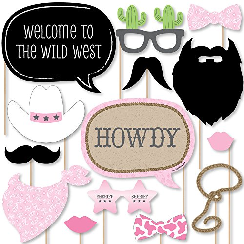 Big Dot of Happiness Little Cowgirl - Western Photo Booth Props Kit - 20 Count -