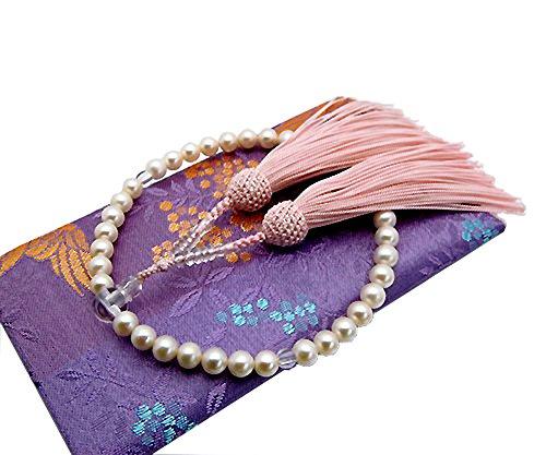 本真珠 数珠念珠 淡水真珠 房の色 ピンク 女性用 専用ケース付き すべての宗派で使えます パール念珠 パール数珠 ピンク B0078XJ7DI