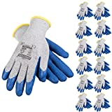 JORESTECH Palm Dipped Latex Coated Seamless Knit Work Gloves PPE Hand Protection (Large) Pack of 12