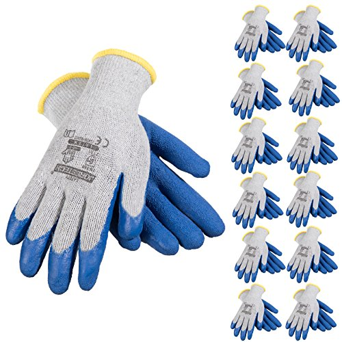 JORESTECH Palm Dipped Latex Coated Seamless Knit Work Gloves PPE Hand Protection (Large) Pack of -