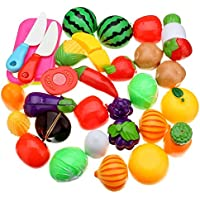 PLUSPOINT Realistic Sliceable 15pc Fruits & Vegetables Cutting Play Set, Can Be Cut in 2 Parts (15pc )