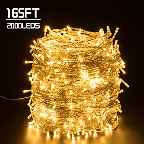 Quntis 165FT 2000LEDs Christmas Decoration Lights - Waterproof Outdoor & Indoor LED String Lights 8 Modes Holiday Fairy Lights UL588 Approved for Home Bedroom Garden Wedding Party Tree, Warm White