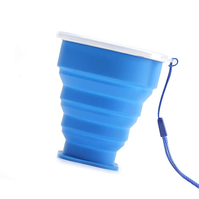 Blue N-A Folding Cup Silicone Travel Glass Suitable for Hiking Camping Picnic
