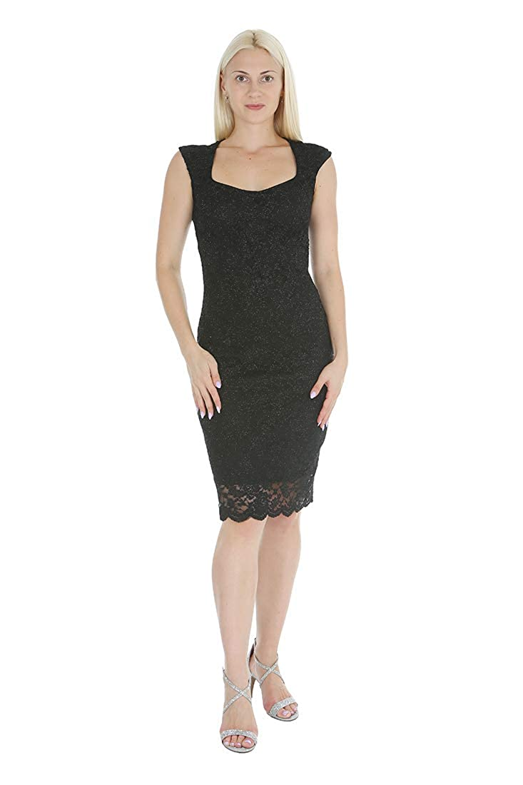 Black Onyx Nite Women's Cap Sleeve Sweetheart Neckline Shimmer Lace Scallop Hem Dress