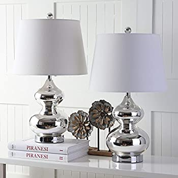 Safavieh Lighting Collection Eva Double Gourd Glass Table Lamp, Silver (Set of 2)