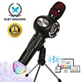 Karaoke Microphone Wireless Bluetooth Microphone for Kids Family Friends Duet Singing Portable Wireless Karaoke Recording KTV Party Gifts Light Holder Mic Machine for iPhone Android iPad PC (Black)