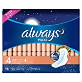Always Maxi Unscented Pads with Wings, Overnight, 48 Count