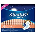 Always Maxi Size 4 Overnight Feminine Pads with Wings, Unscented, 48 Count (Packaging May Vary)