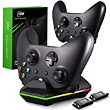 Xbox One Controller Charger, CVIDA Dual Xbox One/One S/One Elite Charging Station with 2 x 800mAh Rechargeable Battery Packs for Two Wireless Controllers Charge Kit- Black