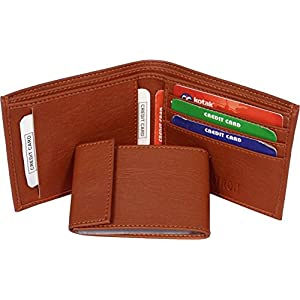 Friends & Company Pure Leather Album Tan Men's Slim Wallet with Card Holder and Coin Pocket (Tan)