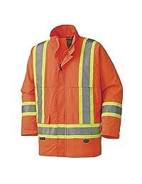 Pioneer V1110950-XL High Visibility Nailhead Polyester Waterproof Safety Jacket, Orange XL