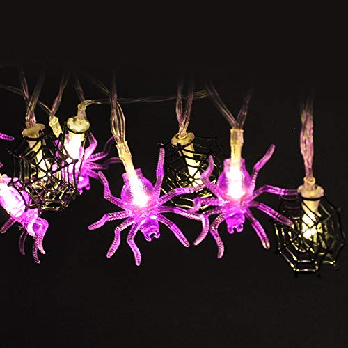 JOYIN Battery Operated 30 LEDs Spider Web/Spider Shape Warm White/Purple String Lights for Halloween Indoor and Outdoor Decorations (Battery Led Web Lights)