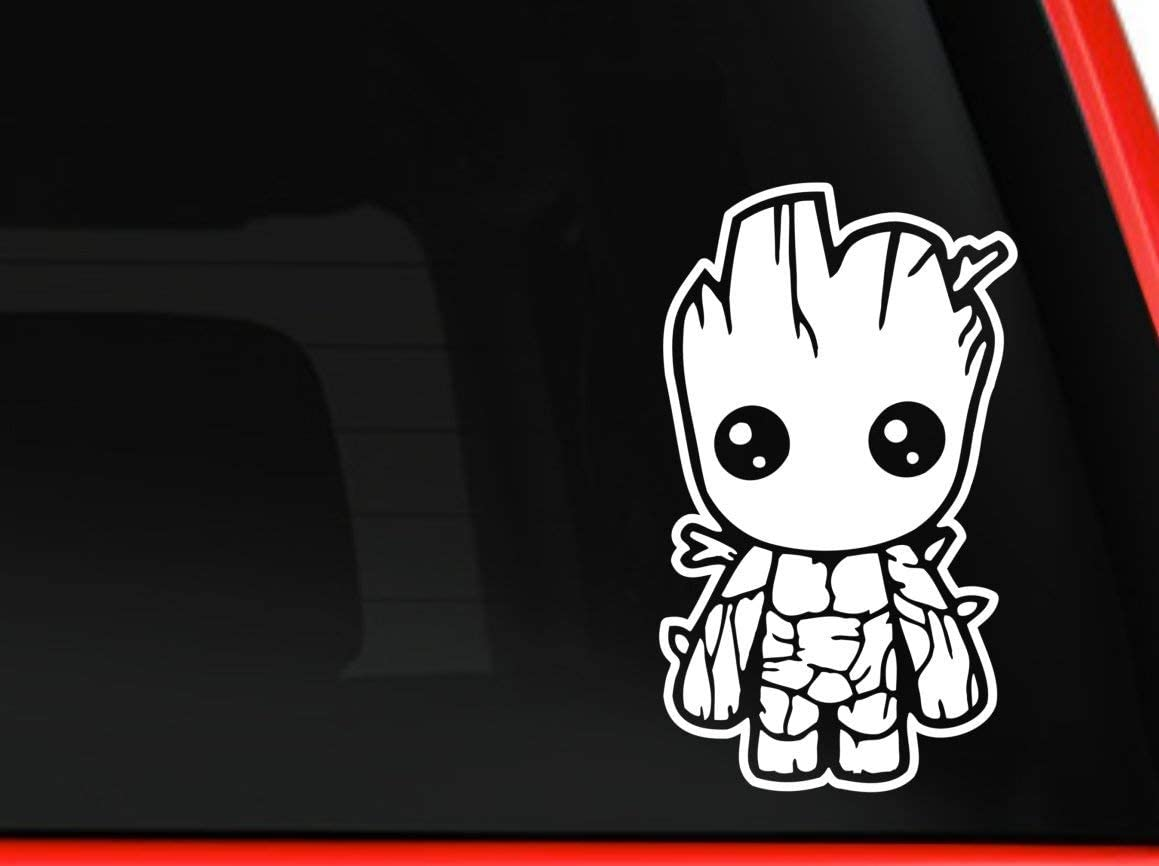 HavenSticks - Cute Baby Groot from Guardians of The Galaxy The Marvel Decal Sticker for Windows, Cars, laptops, etc.. (10, White)