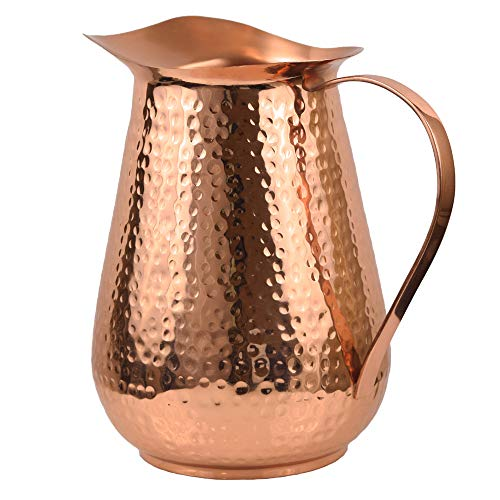 Artisan's Anvil Copper Pitcher w/Copper Handle, Pure 100% Hammered Vessel, Heavy Duty Copper Jug, Handmade, 70 fl. Oz, Best for Water, Ayurveda, Moscow Mule, Cocktails