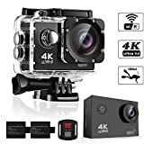 Underwater Camera 4K Ultra HD Action Cameras 16MP Sony Sensor Sports 98ft Waterproof Case Mini Video Sport Cameras 170° Wide Angle WiFi & Wrist Remote Control Cam - 4K@30FPS Ultra HD - Extra Battery