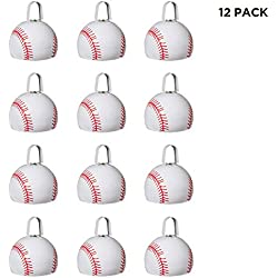 Metal Cowbells with Handles 3 inch Novelty Noise Maker - 12 Pack (Baseball)