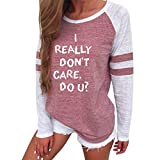 Realdo I Really Don't Care,Do U Casual Long Sleeve Splice Top Blouse Letter Print(Pink,Large)