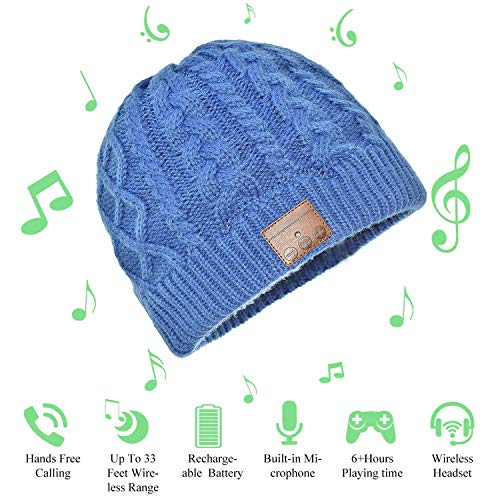 Hat Bluetooth Beanie Headphones with Ear Covers Bluetooth Headphones Headset V4.2 Music Cap Over 6 Hours Running Time Music Beanie for Winter Outdoor Sport