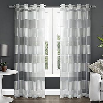 exclusive home curtains navarro burnout sheer grommet top window curtain panel pair winter white