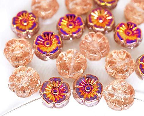 20pcs Crystal Metallic Sliperit Rainbow Half Flat Coin Round Flower Czech Glass Anemone Flower Sun Focal Pendant Beads 9mm Czech Glass Coin Beads