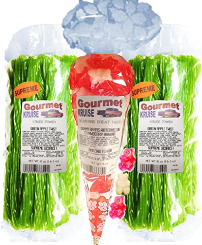 Green Apple Licorice Twist 2-1lb Bags (1) Ripe Pink Watermelon White Strawberry Banana Gummi Gummy Bears 11OZ (NET WT 43 OZ) Gourmet Kruise Signature -