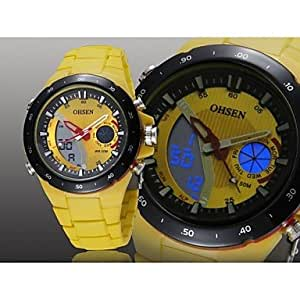 ZA Men's Black Round Watch Dial Silicone Band Japan Movement Fashion Diving Sport Watch Wristwatch(Delivery color random)