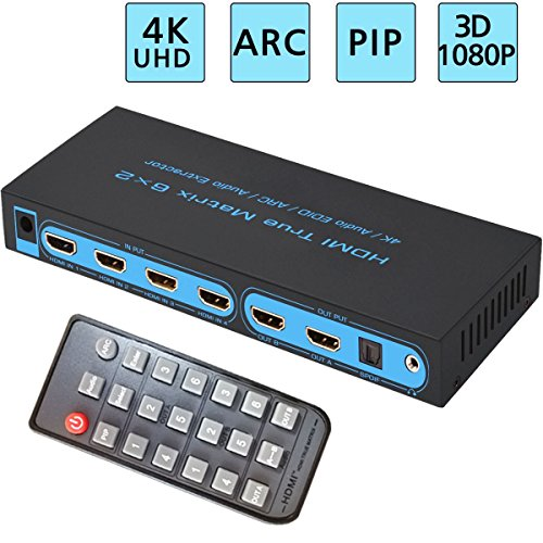 6x2 HDMI Matrix Switch, FiveHome Ultra HD 4K x 2K 6 in 2 Out HDMI True Matrix Switcher/Splitter with SPDIF and L/R 3.5mm - Support PIP, ARC,3D 1080p