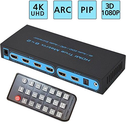 6x2 HDMI Matrix Switch, FiveHome Ultra HD 4K x 2K 6 in 2 out HDMI True Matrix Switcher/Splitter with SPDIF and L/R 3.5mm - Support PIP, ARC,3D 1080p 4x4 Audio Video Matrix