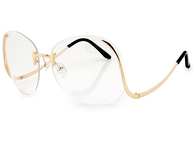 dac2180bd82 AStyles - Oversized Oval Round Rimless Glasses Women Clear Lens Gold  Eyewear (Gold Frame