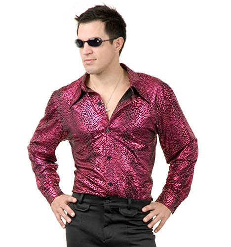 Charades Men's Snakeskin Disco Shirt, red/Black, Large