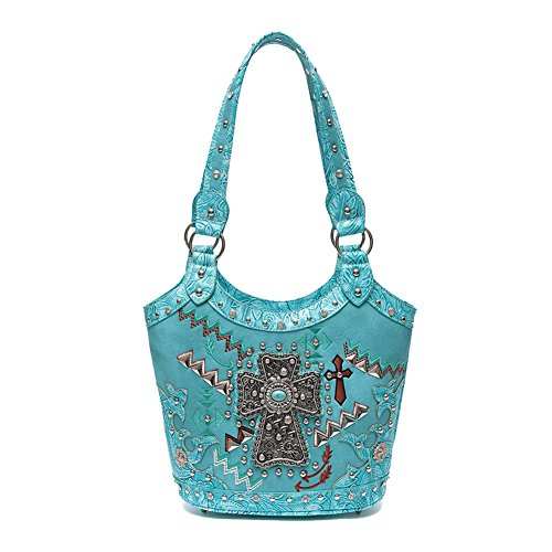 Best Seller Turquoise Tooled Leather Cross Design Concealed Carry Religious Top Native American Purse Bag Handbag Quirky Trendy Cyber Monday Deal Sale Christmas Gift Idea for Women Teen Girl Lady Wife