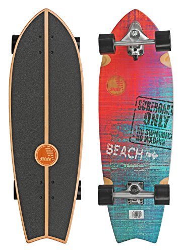 Roller Derby Slide Complete Carving Cruiser Skateboard for Street Surf - Sunset Beach Fish 32 inch