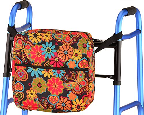 NOVA Medical Universal Tote Bag for Folding Walker, Rollators, Wheelchairs and Scooters, Boho Blossoms