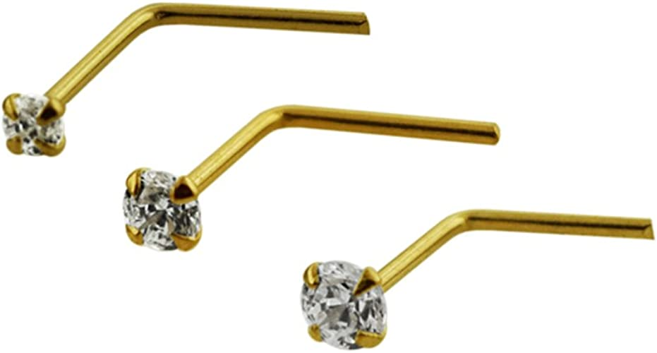 9ct Yellow Gold Nose Pin Stud Bone with 1.5 mm Ball top