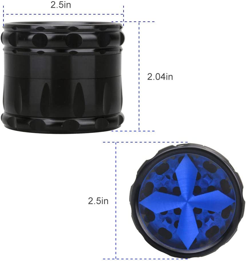 Quality Aluminium Herb Grinder by Fengli 2.5 Inch Large 4-Part Spice Herb Grinders with Pollen Screen,Discreet Box Packaging,Blue