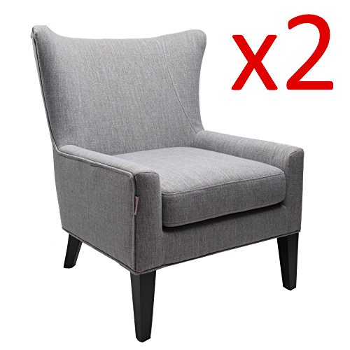 Finnkarelia Tall Wingback Fabric Accent Chair Upholstered Armchair Modern Club Sofa Contemporary Living Room Bedroom Seat Accent Furniture Modern Sofa Arm Chairs, Grey 2 Sets