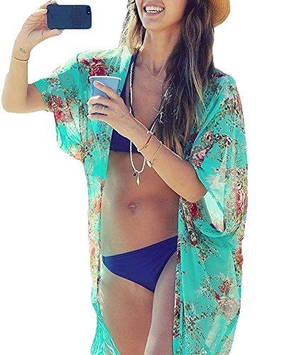 Aoqueen Fashion Womens Chiffon Printed Summer Beachwear Swimwear Bikini Cover Ups Green One - Sunglasses Gold Australian