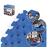 Step2 Playmats Floor Mat for Toddler - Comfortable Puzzle Play Mats for Kids Activity Crawling, 20 Piece Set - Blue
