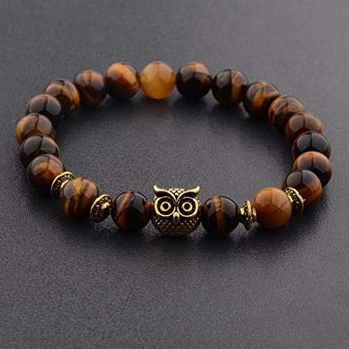 (Werrox Fashion 8MM Mens Natural Stone Gold/Silver Lion Buddha Beaded Charm Bracelets | Model BRCLT - 2636 |)