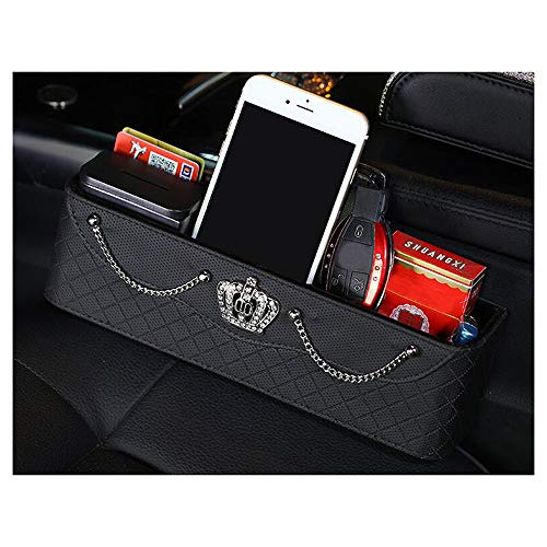 Coin Studded (Siyibb Leather Seat Crevice Storage Box Studded Seat Gap Coin Pocket Organizer with Crystal Crown Decor)
